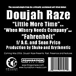 Doujah Raze Little More Time / Fahrenheit (Feat. Ag & Sean Price)